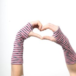 Striped grey and pink cotton fingerless gloves