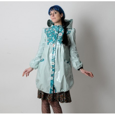 Checkered and floral green raincoat, bubble shaped