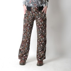 Womens black and brown long supple floral pants, wide legs
