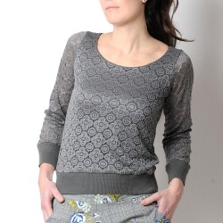 Grey lace womens sweater