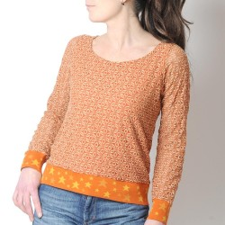 Orange lace womens sweater with starry hems