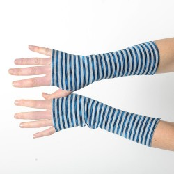 Striped grey and blue cotton fingerless gloves