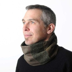 Dark green and brown patchwork snood cowl