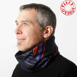 Men Scarf Cowl Neckwarmer, navy, red, purple cotton and silk fabrics