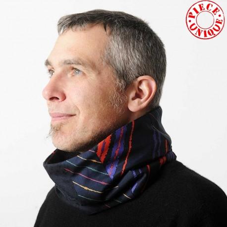 idée cadeau pour homme Col Echarpe Homme Patchwork de tissus coton soie, marine, violet, rouge