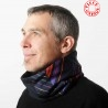 Col Echarpe Homme Patchwork de tissus coton soie, marine, violet, rouge