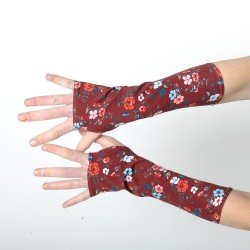 Crimson red long floral armwarmers, cotton jersey