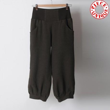Pantalon femme original made in france 4/5, crêpe kaki, ceinture extensible