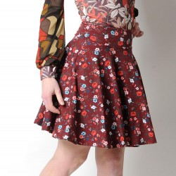 Flared jersey skirt, floral crimson red cotton jersey
