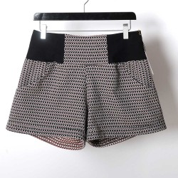 Womens shorts with small black, red, beige pattern