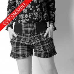 Short femme original fabriqué en France, ceinture extensible - PERSONNALISABLE