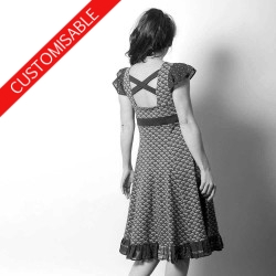 Flared jersey dress, fabric ruffles, crossed back - CUSTOM