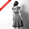 Flared jersey dress, fabric ruffles, crossed back - CUSTOM