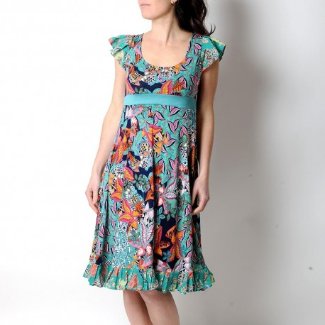 Colorful short-sleeved long dress with ruffles, green, orange, pink