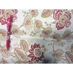 Beige and red cotton with floral print x 10 cm