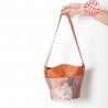 Orange leather, pink patchwork bucket bag, shoulder strap