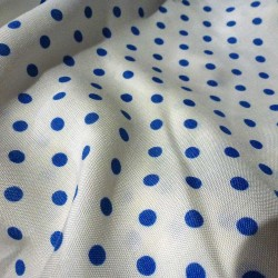 Vintage supple white fabric with blue polka dots x 10 cm
