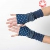 Blue armwarmers in a patchwork of jersey