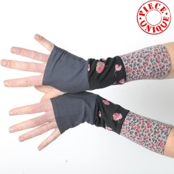 Black and grey floral armwarmers in a patchwork of jersey
