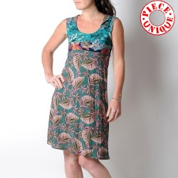 Teal blue and pink floral sleeveless dress with pointy collar
