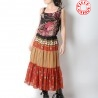 Long bohemian dark red tiered skirt, vintage geometric pattern