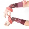 Stretchy crimson red patchwork jersey cuffs, coral lace ruffles
