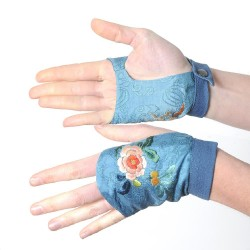 Blue embroidered fingerless gauntlets, antique Japanese fabric