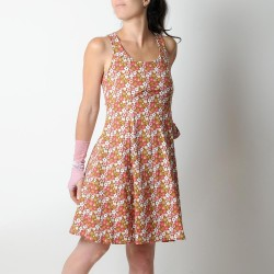 Summer floral cotton jersey dress with crossed straps and flared cut