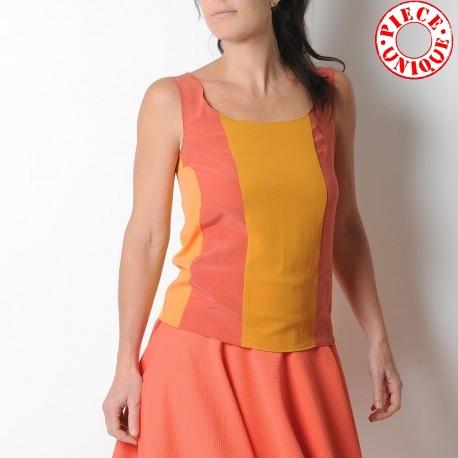 Orange and yellow colorblock sleeveless tank top