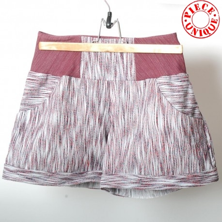 Womens shorts, striped white and red vintage fabric