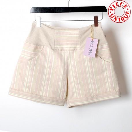 Short jeune créateur femme coton beige vintage extensibles rayé