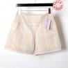 Short femme coton beige vintage extensible rayé