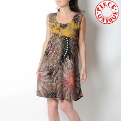 Summer sleeveless dress, ethnic print, with pointy collar at back