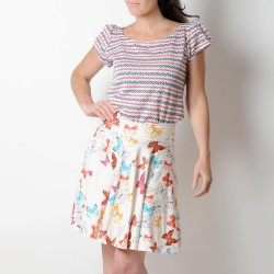 Flared jersey skirt, off-white with colorful butterflies