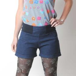 Womens stretchy blue denim shorts