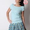 Short sleeved womens top, vintage white and turquoise blue knit jersey