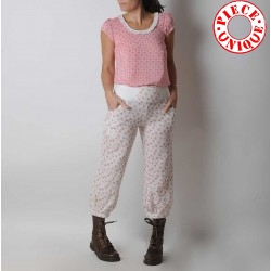 White and red floral cotton womens puffy pants