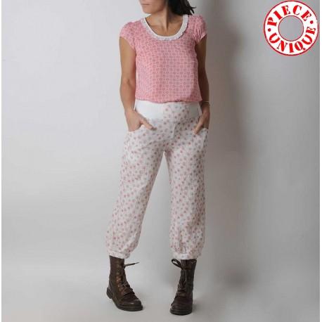 fabriqué en France créateur femme Pantalon femme bouffant coton blanc fleurs rouges