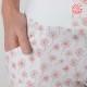 Pantalon femme original fabriqué en France bouffant coton blanc fleurs rouges
