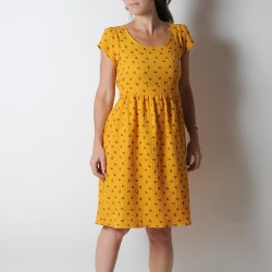 Yellow feather print dress with short sleeves, lightweight cotton