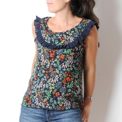 Dark blue floral sleeveless top with ruffles