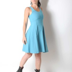 Blue flared cotton jersey dress with crossed straps