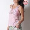 Top rose pâle à bretelles croisées dos, tissus jersey fleuri