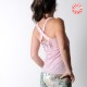 Pink summer jersey top with crossed straps, floral jerseys