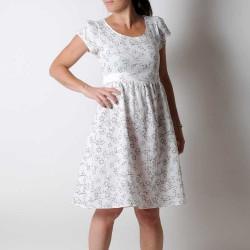 White and black gauze dress with short sleeves, geometric print