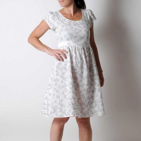 Robe artisanale d'été ceinturée, coton léger blanc motif géométrique