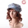 Blue and pink floral newsboy cap hat, vintage cotton