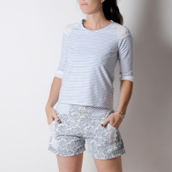 White and blue striped womens top, jersey and lace