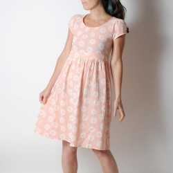 Salmon pink floral gauze dress with short sleeves,
