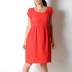 Robe fabriquée en France créateur femme d'été ceinturée, coton léger rouge petit motif noir